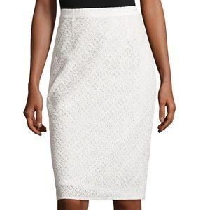 NWT Escada White Eyelet Lace Pencil Skirt Sz 14
